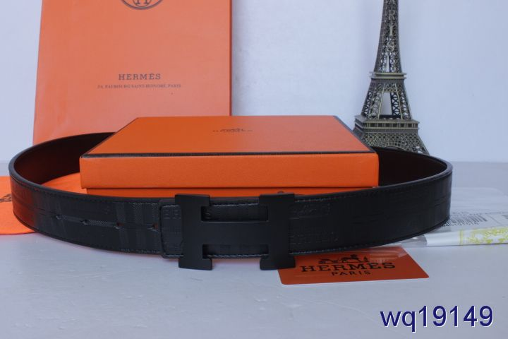 Nice Hermes with Black H Buckle Belt Black Mens